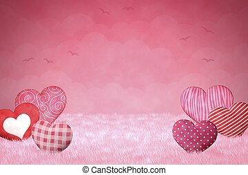 Cute little hearts on a pink background