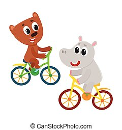 Cute little hippo and bear, kitten characters riding...