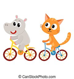 Cute little hippo and cat, kitten characters riding bicycles...