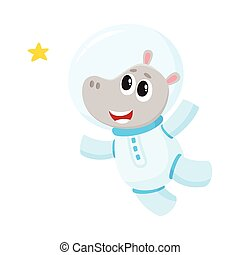 Cute little hippo animal astronaut, spaceman character wearing space suit