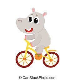 Cute little hippo character riding bicycle, cycling, holding...