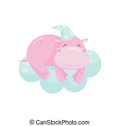 Cute little hippo sleeping on a cloud, lovely animal cartoon character, good night design element, sweet dreams vector Illustration