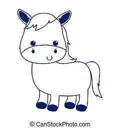 cute little horse cartoon animal isolated icon design line style
