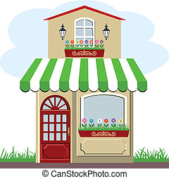 Vector illustration of little cute retro house and store, shop or boutique with green awning