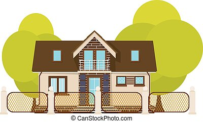Cute little house. Cartoon house with fence and green tree on a white background. Illustration