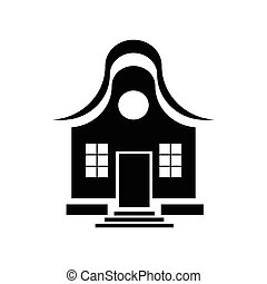 Cute little house icon, simple style