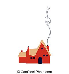 cute little house with chimney icon