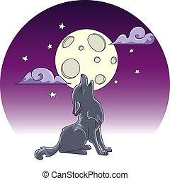 cute little howling wolf, hand drawn illustration