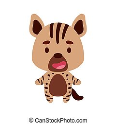Cute little hyena on white background. Cartoon animal character for kids cards, baby shower, birthday invitation, house interior. Bright colored childish vector illustration.