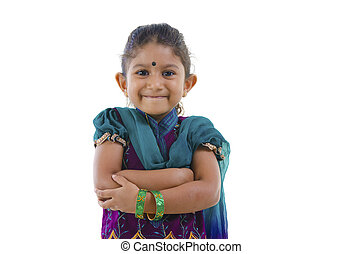 Cute little Indian girl, isolated white background