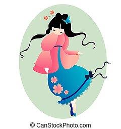 cute little Japanese girl in a pink dress