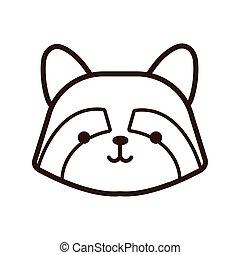 cute little kawaii fox animal line style