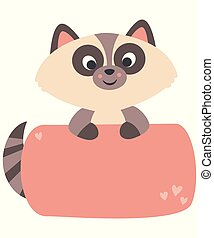 Cute Little Kawaii Style Baby Raccoon Holding Banner Flat Illustration Pastel Colors Isolated on White