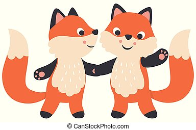 Cute Little Kawaii Style Foxes Couple Holding Hands Valentines Day Flat Vector Illustration Isolated on White