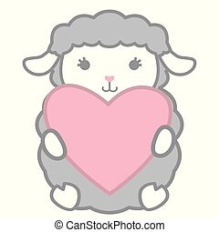 Cute Little Kawaii Style Gray Baby Sheep Holding Heart Shaped Banner Vector Illustration Isolated on White