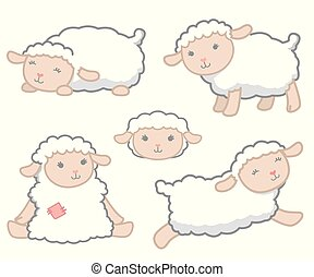 Cute Little Kawaii Style White Baby Sheep Design Elements Set Vector Illustration Isolated on White