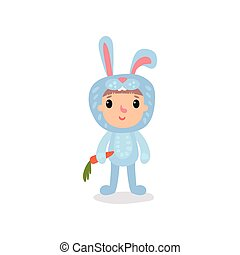 Cute little kid in blue bunny costume standing with carrot in hand. Cartoon child character dressed in animal jumpsuit for party. Flat vector for invitation card, banner or poster