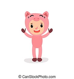 Cute little kid in pink pig costume. Boy or girl character in funny animal suit. Child with happy face standing with hands up. Flat vector for card, poster or children book