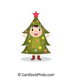 Cute little kid in the costume of hristmas tree, kid in...