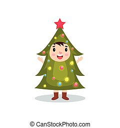 Cute little kid in the costume of hristmas tree, kid in...