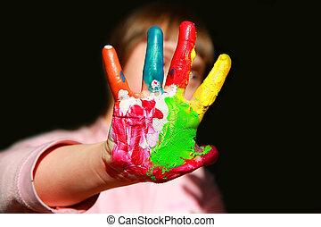 Cute little kid with painted hands