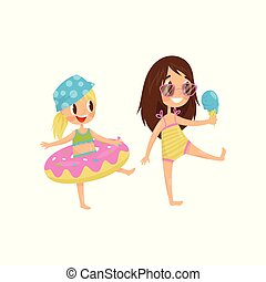 Cute little kid with rubber swimming ring. Funny girl with ice-cream in hand. Summer recreation. Flat vector design