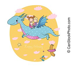 cute little kids are flying a dragon. Cartoon brother, sister and dinosaur.