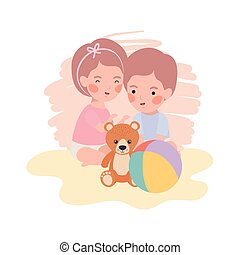cute little kids babies with bear teddy toys