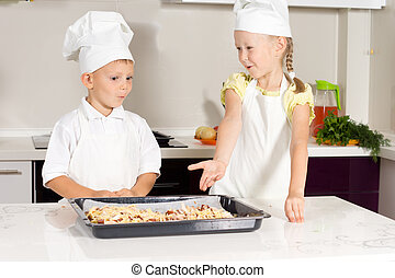 Cute Little Kids Bake Something to Eat
