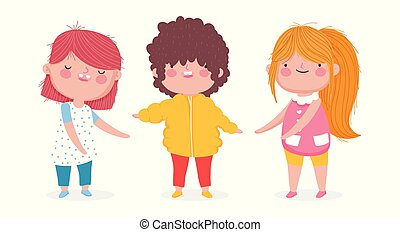 cute little kids cartoon on white background