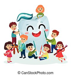 Cute little kids cleaning giant white smiing tooth using toothbrush, oral hygiene for children vector Illustrations