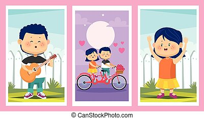 cute little kids couples group characters