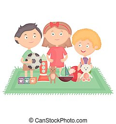 cute little kids group playing with toys characters