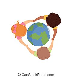 Cute little kids holding hands around the globe, top view vector Illustration on a white background