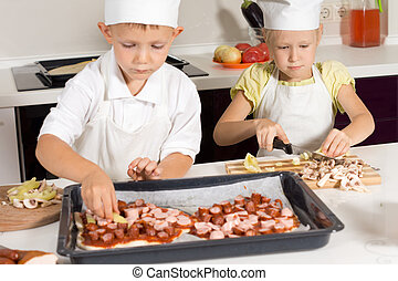 Cute Little Kids in Chef Attire Making Pizza