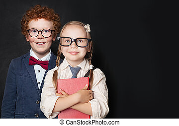 Cute little kids in school uniform portrait