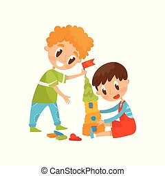 Cute little kids making castle from a plasticine, education and child development concept vector Illustration on a white background