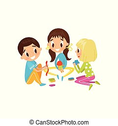 Cute little kids making figures from a plasticine, education and child development concept vector Illustration on a white background