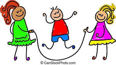 cute little kids playing a skipping game - toddler art series