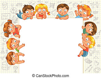 Cute little kids show a blank poster for your text entry. ...
