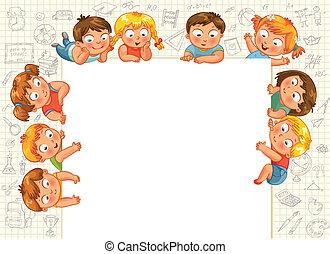 Cute little kids show a blank poste
