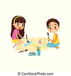 Cute little kids sitting on the floor and drawing paints on large sheet of paper, education and child development concept vector Illustration