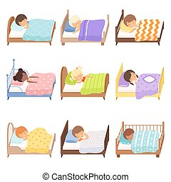 Cute Little Kids Sleeping Sweetly in their Beds Collection Vector Illustration