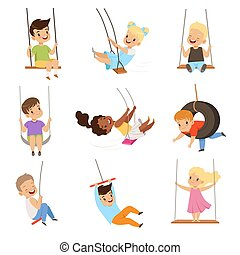 Cute little kids swinging on rope swings, boys and girls having fun outdoor vector Illustration on a white background
