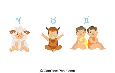 Cute Little Kids Wearing as Zodiac Signs Set, Aries, Taurus, Gemini Vector Illustration