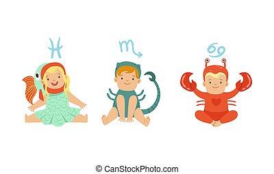Cute Little Kids Wearing as Zodiac Signs Set, Pisces, Scorpio, Cancer Vector Illustration