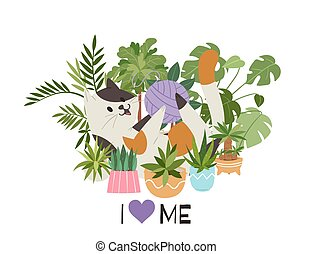 Cute little kitten playing with wool ball in heart shaped home plants with i Love cats inscription, cartoon vector illustration.