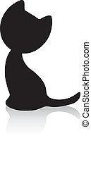 Cute little kitten silhouette with shadow - Black cat...