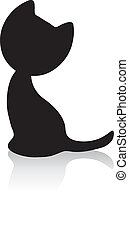 Cute little kitten silhouette with shadow - Black cat...