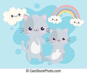 cute little kittens rainbow clouds kawaii cartoon character